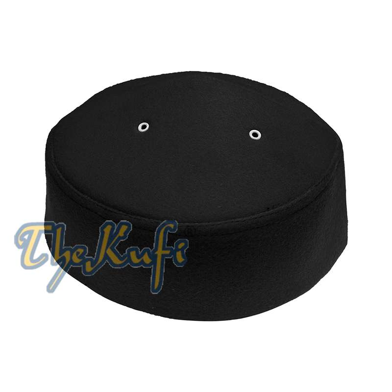Black Handmade Vented Pointed-top Faux Felt Fez