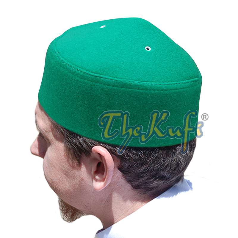 Green Handmade Vented Pointed-top Faux Felt Fez