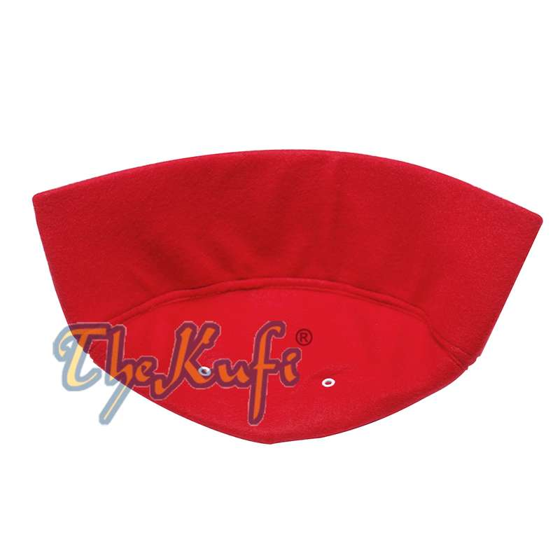 Red Handmade Vented Pointed-top Faux Felt Fez