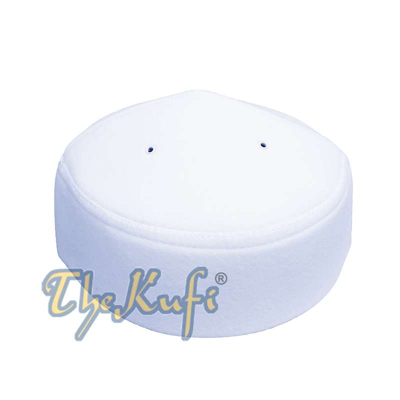 White Handmade Vented Pointed-top Faux Felt Fez
