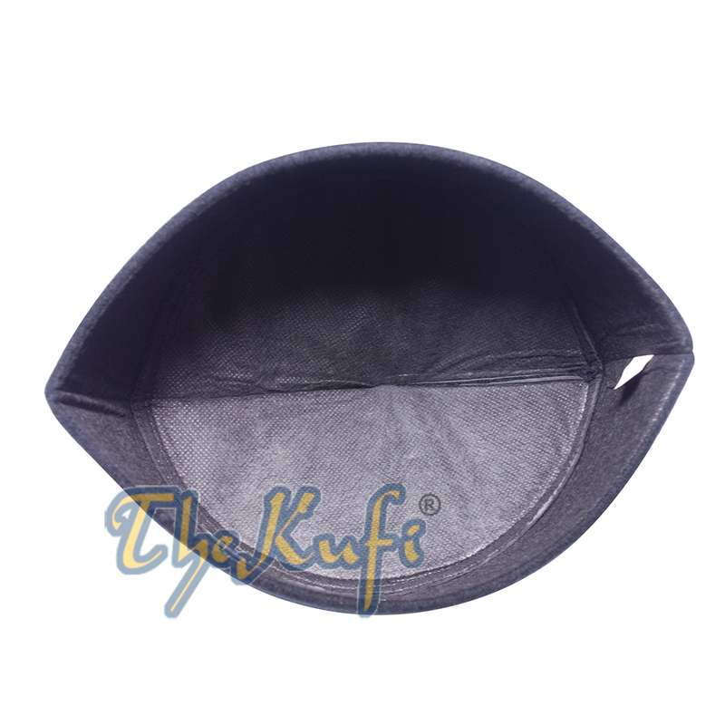 Handmade Pointed Top Black Faux Felt Kufi