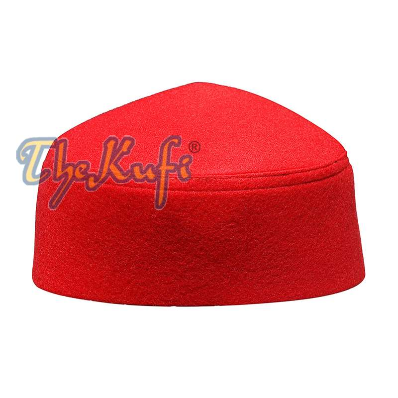 Handmade Pointed Top Red Faux Felt Kufi