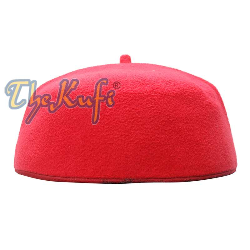 Handmade Red Fez-style Kufi with Tip