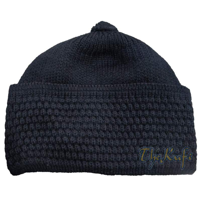 One-size Dark Blue Thick-weave Stretchy Double Layer Warm Cotton-acrylic Beanie Hat with Pompom
