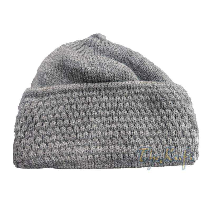 One-size Gray Thick-weave Stretchy Double Layer Warm Cotton-acrylic Beanie Hat with Pompom